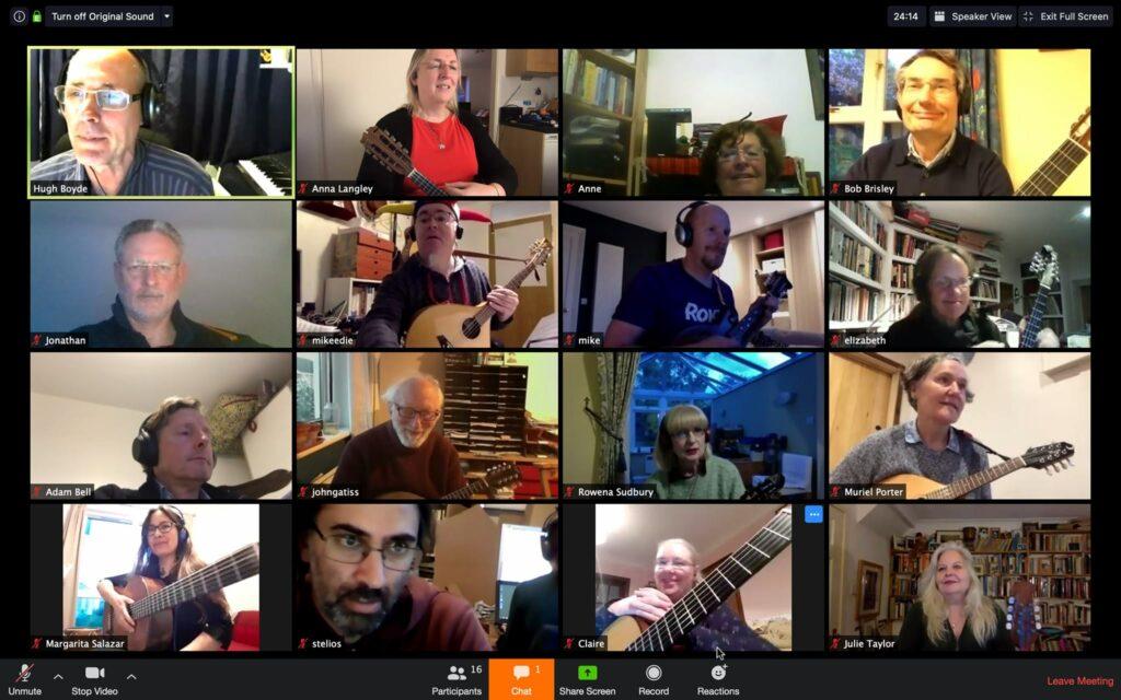 the Moonlight Mandolin Orchestra rehearsing on Zoom